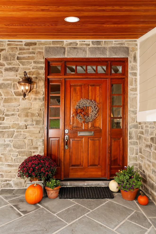If you don't have much time simply add a bunch of pumpkins near the door.