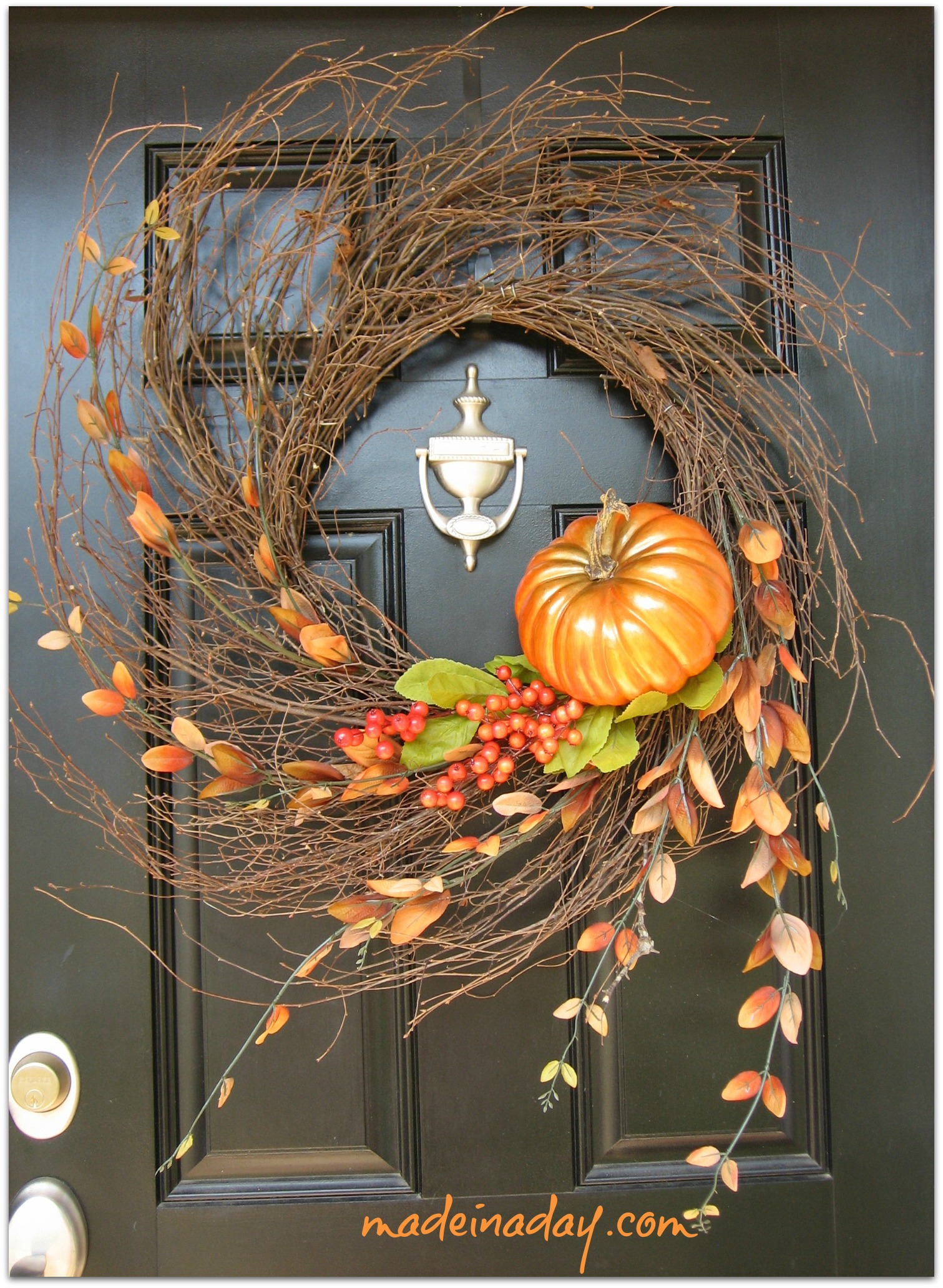 Add A Glittered Pumpkin To A Twig Wreath To Make Your Front Door Shine.