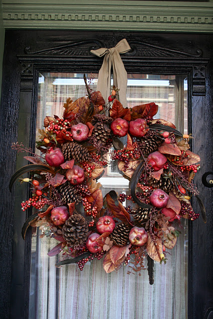 Lovely wreath could be made using a combination of pine cones, pomegranates, fallen leaves, and berries.