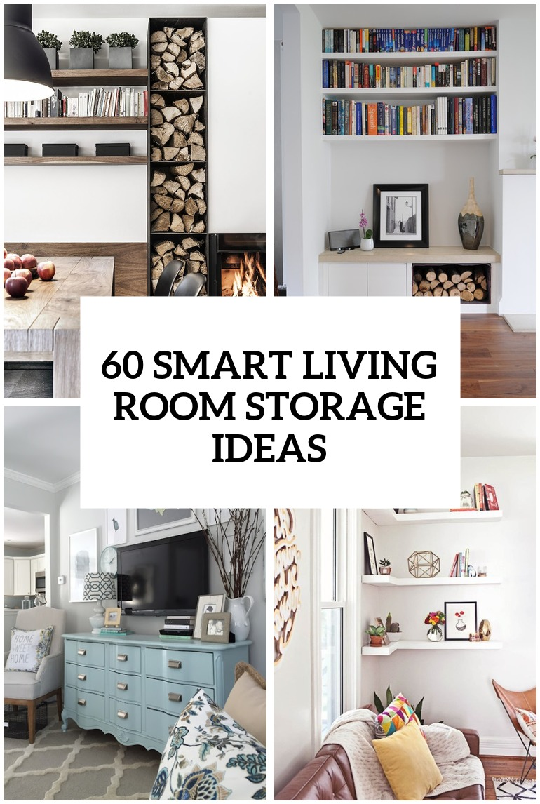 60 simple but smart living room storage ideas digsdigs for Room decor ideas storage