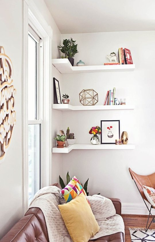 corner shelves is a smart small space solution because corners are usually useless - Storage For Small Spaces Rooms