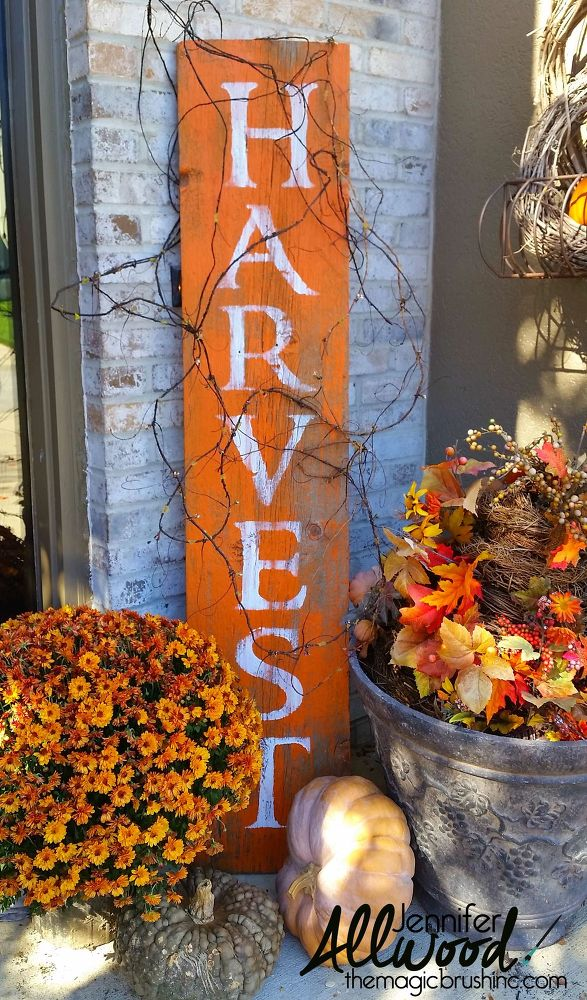 diy barnwood harvest sign is a quite popular project for the porch surrounded with fall foliage - Harvest Decorations