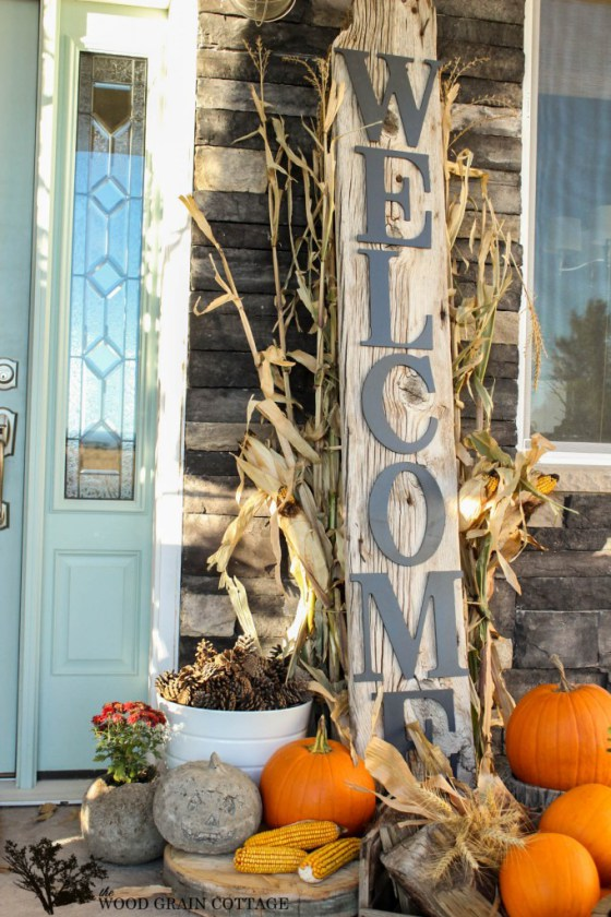 "An oversized ""Welcome"" sign would definitely become a centerpiece of your Fall arrangement."