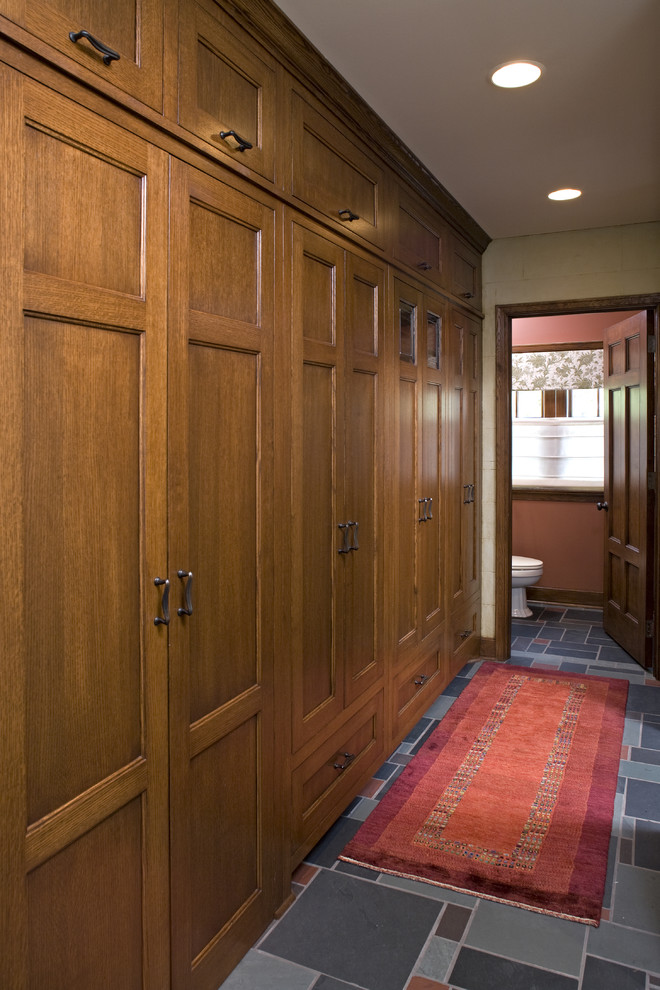 This storage wall is a great example of how much storage you could fit into a hallway.