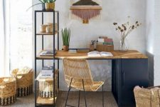 a bright home office with a navy desk, a rattan chair, a jute rug, baskets, a bright wall hanging and an open shelf