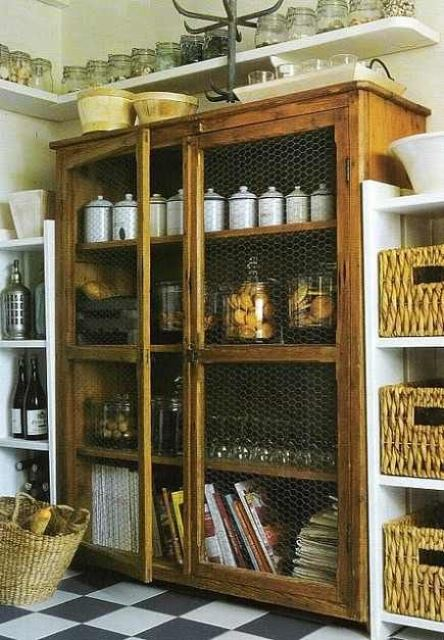 a kitchen buffet with chicken wire doors is nice for storign everything you want including food in jars
