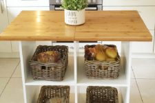 an open kitchen island with baskets is great for storage and for cooking or other stuff you wanna do with it
