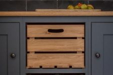 build in some crates or boxes as drawers if they are more comfortable for you than usual cabinets