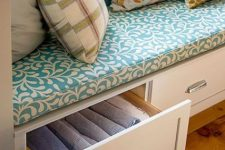 drawers built into a windowsill bench are nice for storing blankets, pillows and other stuff you may need