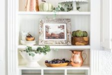 freenery, neutral pumpkins, copper jugs, veggies and bowls for simple and neutral fall decor