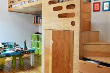 if your ceilings allow you can design a multi-level room with smart stairs storage