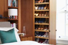 in case you have a large shoe collection you might want to install pull-out shoe shelves in your bedroom