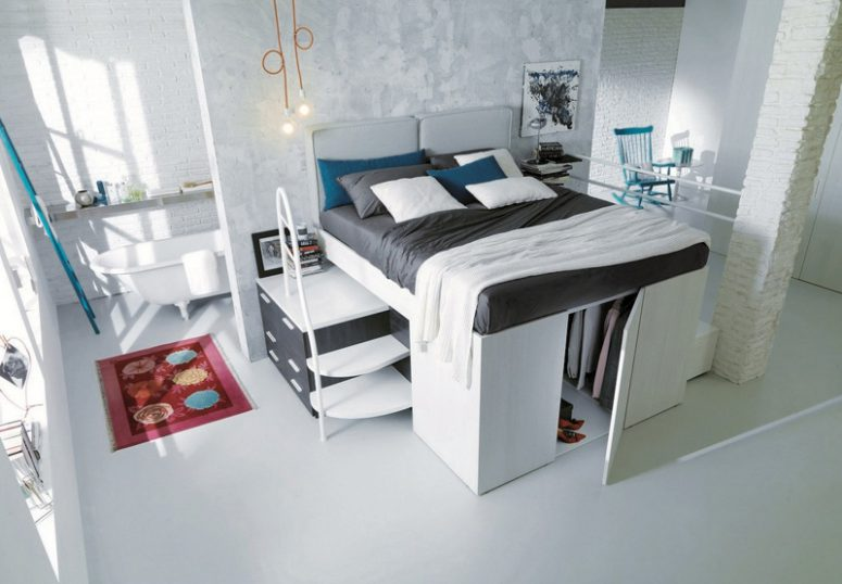 italian furniutre manufacturers came up with pretty clever bed designs with lots of storage hidden underneath