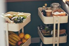 mini kitchen carts placed under the windowsill are great for storing anything you want