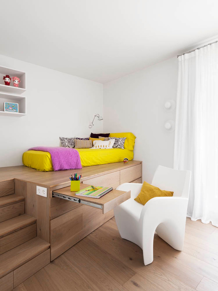 this clever sleeping platfor could provide storage and working space for a teen room