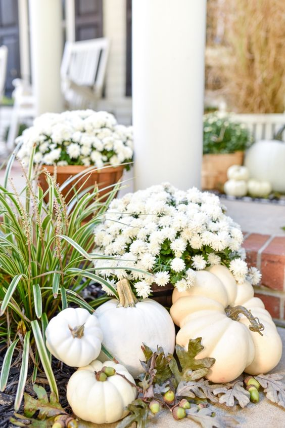 white pumpkins, white potted blooms and acorns make lovely and very natural fall decor for outdoors