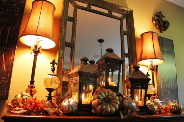 If you're searching for ideas to decorate your mantel for fall then think about lanterns. Here how cool it would look with a glow from candles in these lanterns.