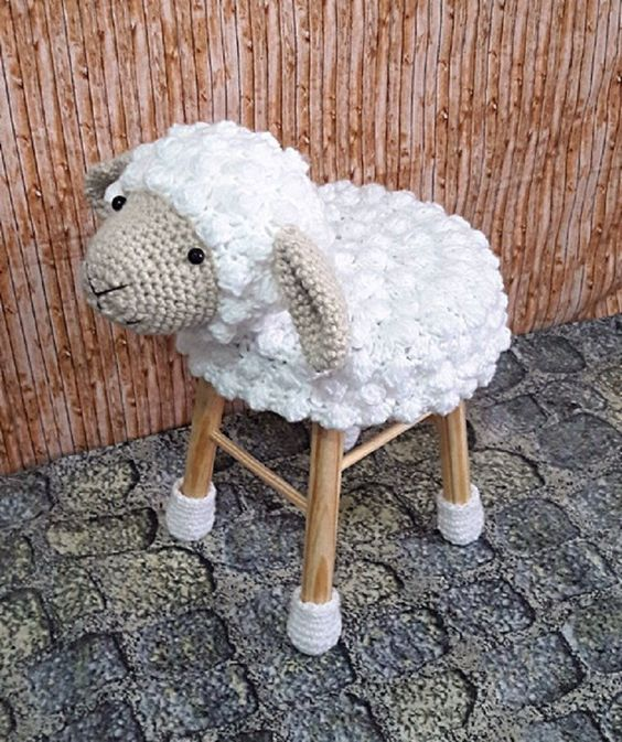 a fun sheep-shaped crochet cover for a stool will make your kids very happy