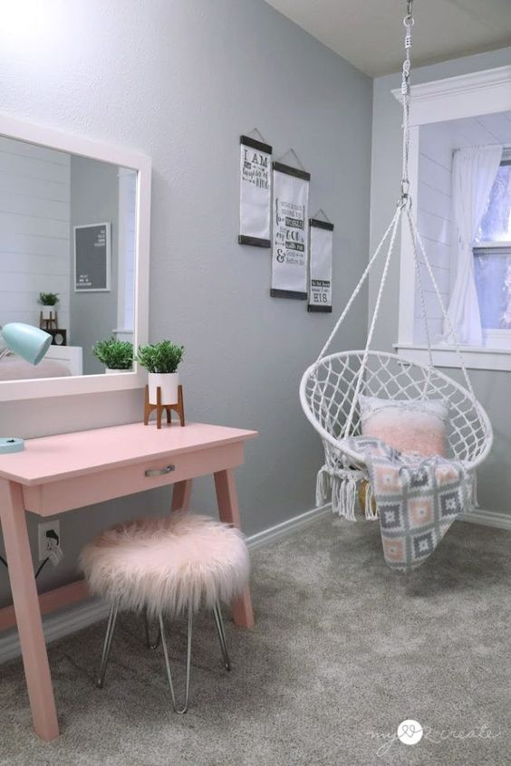 a fuzzy pink stool with hairpin legs will be a nice addition to a makeup nook or kitchen, for example