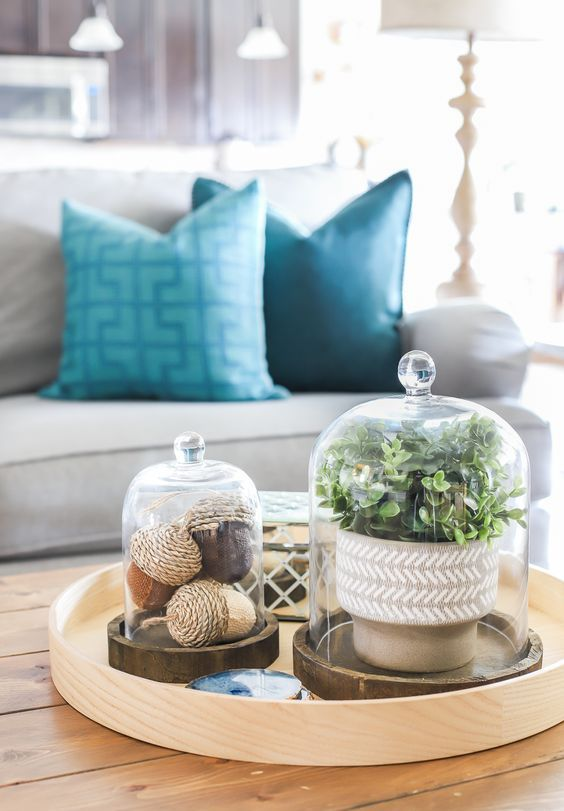 a round tray with acorns in a cloche and potted greenery in a cloche for a stylish and modern feel in the space