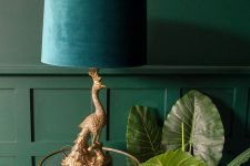 a sophisticated gold peacock and teal velvet lampshade for a refined space and a gorgeous touch to it