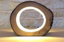 an ultra-modern wooden slice LED table lamp will bring a touch of nature to your space