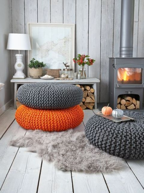 bright chunky knit ottomans are a timeless solution for cold seasons and they can be stacked or double as coffee tables