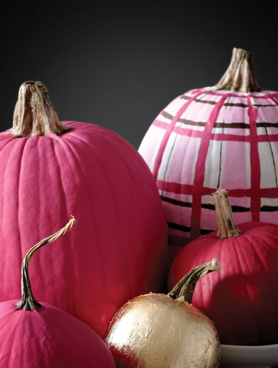 fuchsia, gold leaf, pink plaid pumpkins will make your fall space look ultimately cool and bold