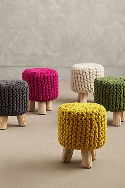 mini stools with colorful knit covers look fun and cool and cozy up any space adding color to it