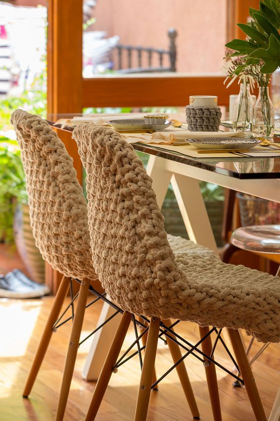 standard chairs covered with white crochet are very comfortable and you may add matching cozies to the mugs, too