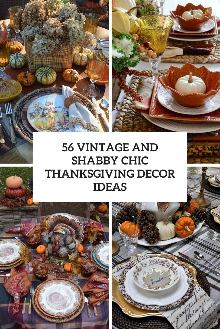 vintage and shabby chic thanksgiving decor ideas cover