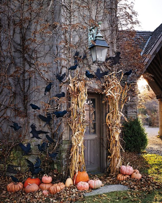a rustic house entrance with corn husks, pumpkins and bats is a lovely space to enjoy
