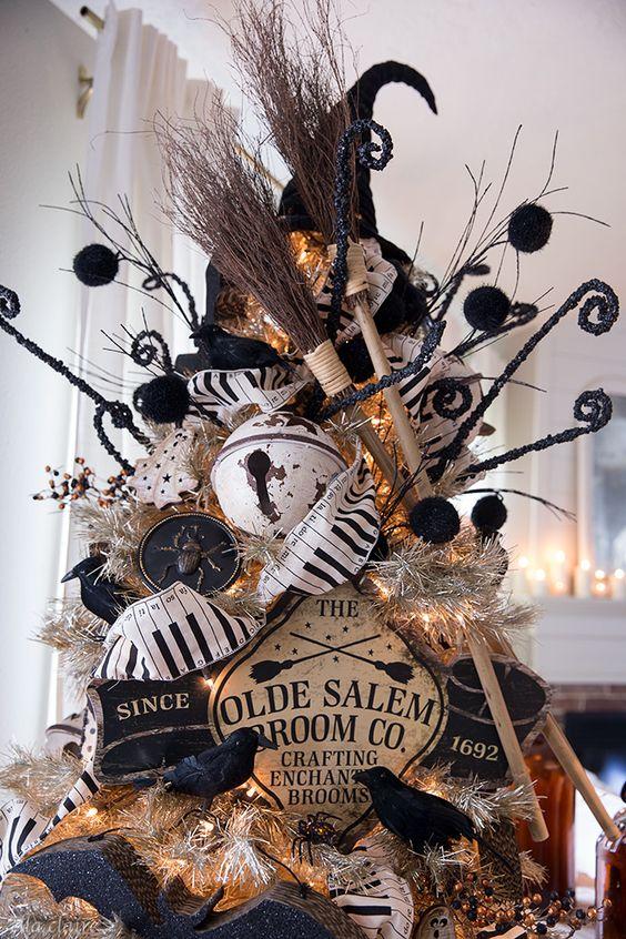 a bold halloween tree decor
