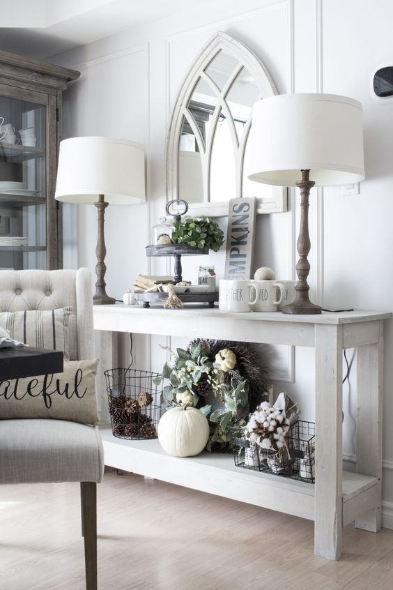 neutral thanksgiving decor in white shades