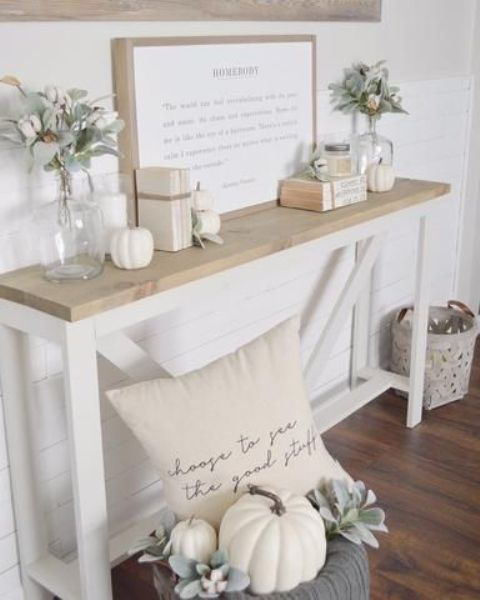 cozy white Thanksgiving decor with pumpkins, cotton and pale greenery is beautiful and chic