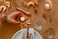 gilded leaves, branches and pinecones will be ideal for fall and Thanksgiving decor, make some yourself