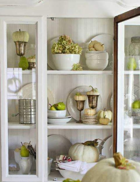 green pears, apples and white pumpkins for decorating your space for Thanksgiving in rustic and vintage style