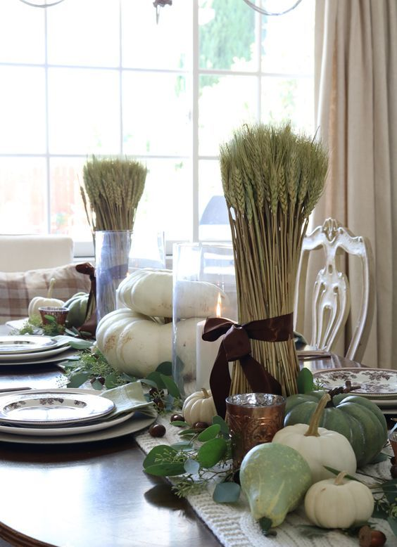 green pumpkins, pears, greenery and wheat for a beautiful rustic Thanksgiving tablescape