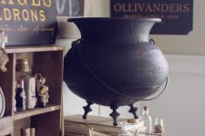 lovely vintage Halloween decor inspired by Harry Potter books with a wooden shelf, bottles and a bird, a witch's cauldron, some signs
