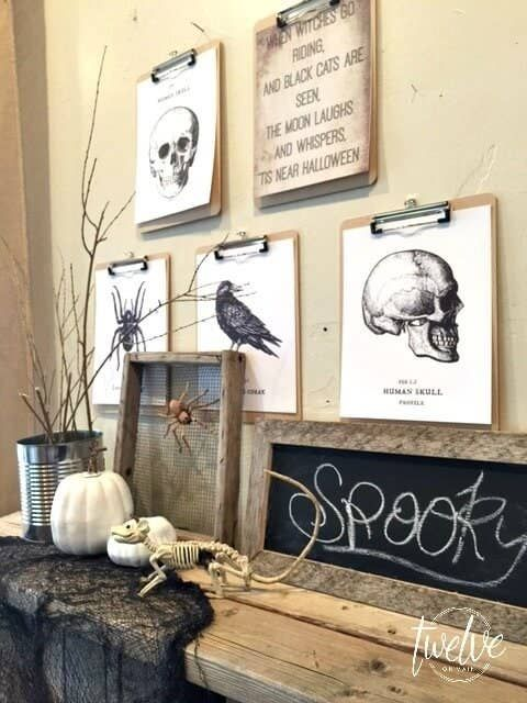 vintage rustic Halloween decor with scary prints and art, a chalkboard piece in a wooden frame a spider, pumpkins, branches and a skeleton