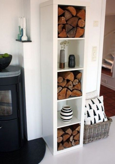 a Kallax shelf with vases and firewood will be a nice and very easy solution for any room