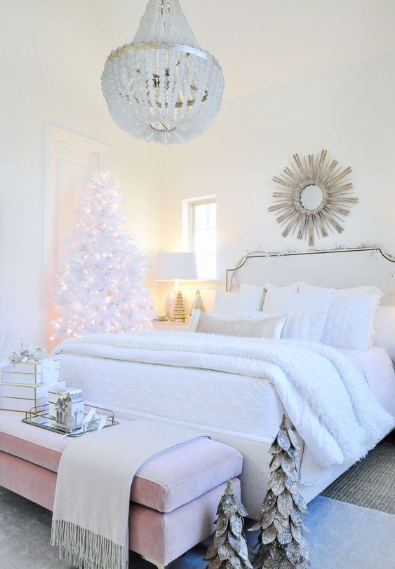 a neutral Christmas space with a pre-lit pure white Christmas tree and mini Christmas trees with a sparkle