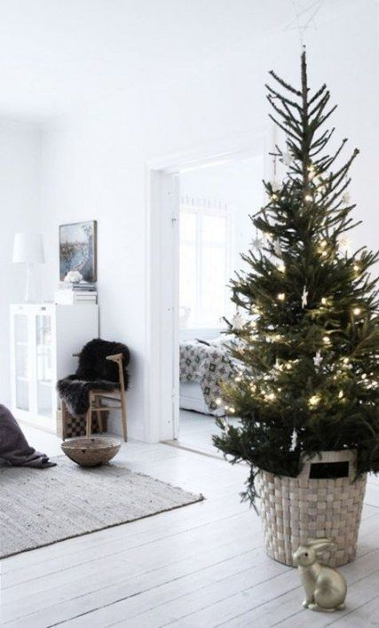 a non-decorated Christmas tree in a basket with lights is a very minimalist and stylish idea to go for