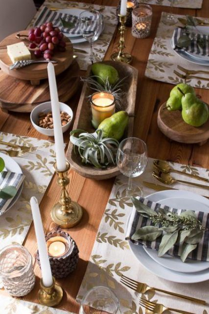 green pears, air plants and candles for creating a modern and chic Thanksgiving tablescape