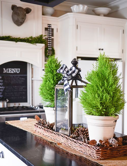 mini Christmas trees in pots, snowy pinecones in baskets and a candle lantern with a buffalo check bow