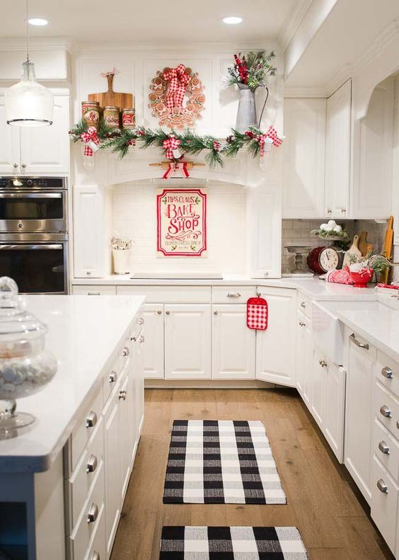 red and white plaid Christmas decor, evergreens, wood slices and red bowls for chic holiday decor