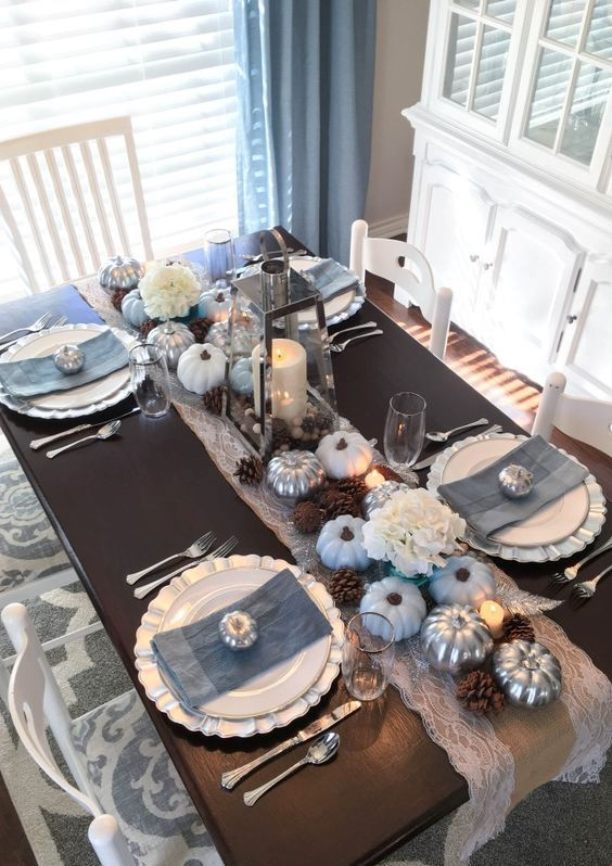 slate blue grey napkins, light blue pumpkins paired with white, brown and silver make up a unique combo