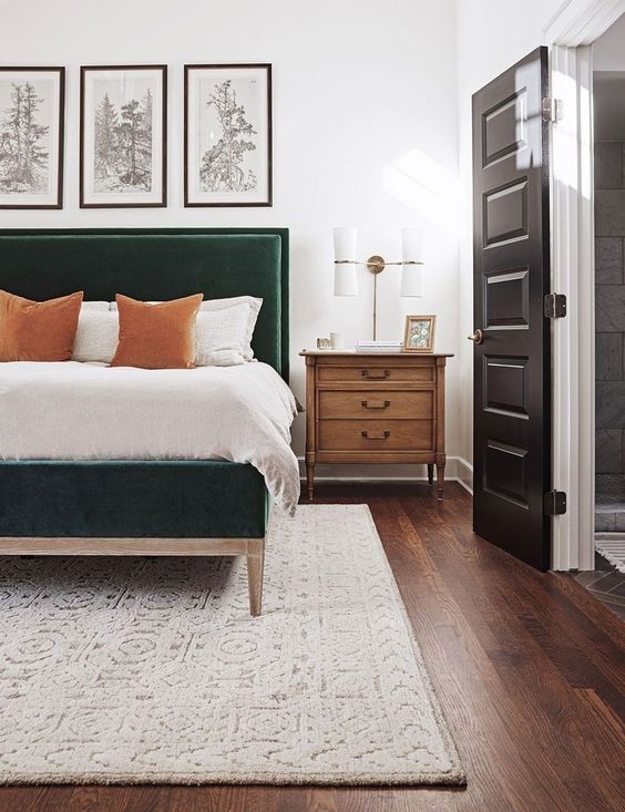 a hunter green velvet bed will make a statement with its color, style and chic to your space