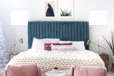 a navy velvet bed with a ribbed headboard will bring color, texture and a cool feel to the space