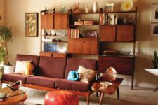 a rich stained storage unit with closed cabinets, shelves and drawers for a stylish mid-century modern interior